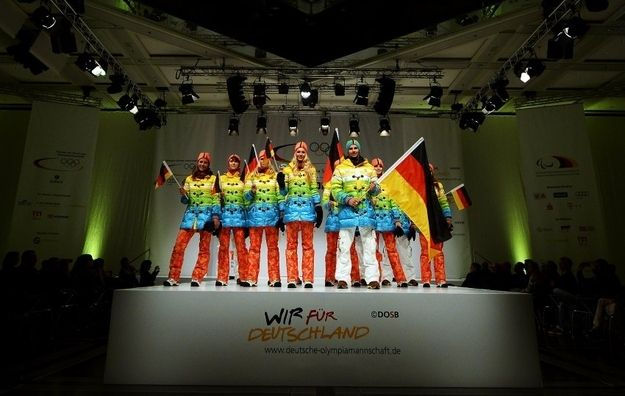 Germany unveiled colorful uniforms for its Sochi Winter Olympics team at a runway show in Düsseldorf on Tuesday. Some are saying that the rainbow clad uniforms are a subtle political statement against Russia's anti-gay policies. | The German Olympic Uniforms Are Basically Pride Flags