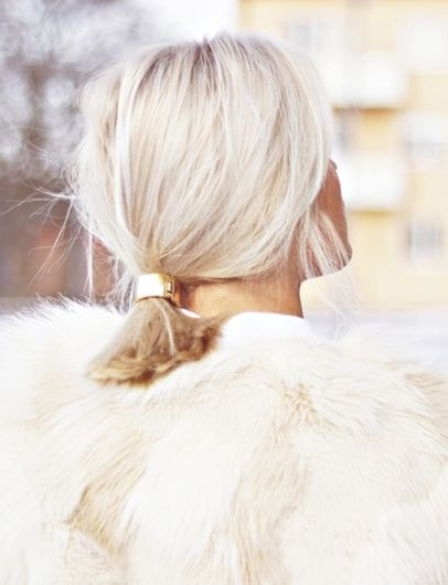 Bright blonde and a chic metal clasp- perfect for wearing with winter white! #liveincolor #Feria