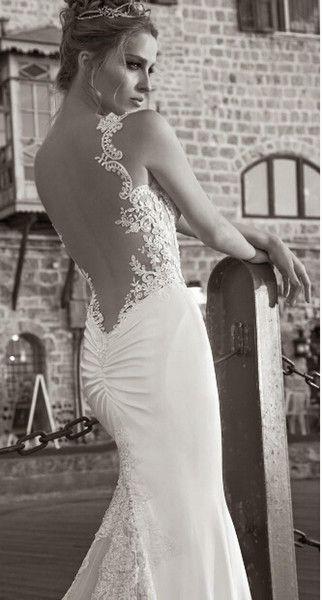 Wholesale 2014 Galia Lahav été dentelle blanche dos nu robe de mariée Plage robe de mariée sirène sangles Sheer Tiers plissée Sweep -Train, Free shipping, $200.11/Pièce | DHgate Mobile