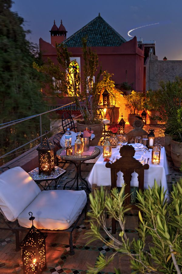 Private rooftop dining at magical Riad Kaiss. Beautiful rooftop terrace.