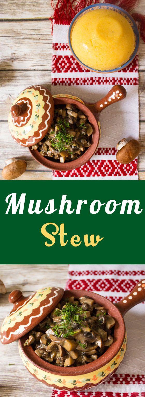 Mushroom stew with a creamy garlic sauce and a side of Romanian polenta called mamaliga.