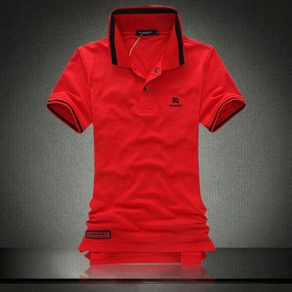 polo ralph lauren clearance Burberry Print Stand Collar Short Sleeve Men's Polo Shirt Red http://www.poloshirtoutlet.us/