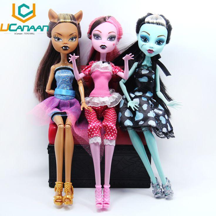 いいえボックスucanaan人形draculaura/clawdeenウルフ/フランキースタイン可動ジョイントボディ高品質女の子プラスチッククラシックtoysギフト