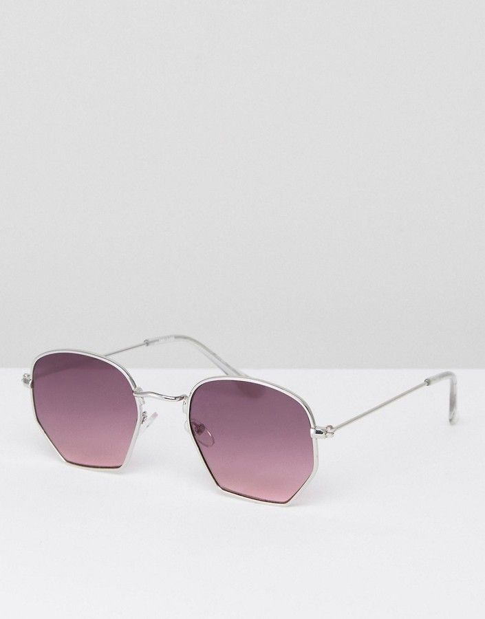 ASOS Anglular Sunglasses In Silver With Purple Lens $23.00 Free delivery & returns. Lightweight metal frames, Adjustable silicone nose pads for added comfort, Gradient tinted lenses, Slim arms with curved temple tips for a secure fit, Good UV protection, Cloth sunglasses pouch can be used as a lens wipe