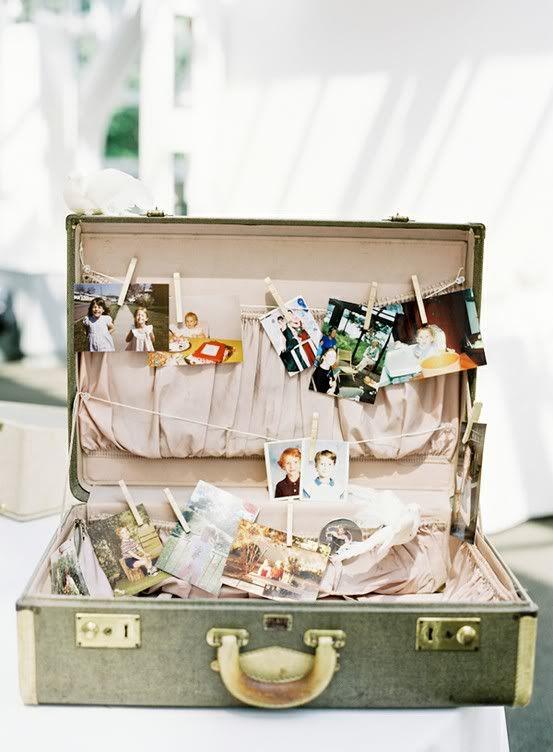 Vintage luggage used as photo display. Oude koffer voor je vintage bruiloft.