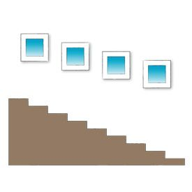 17 best images about stairway wall displays on pinterest for Office design rules of thumb