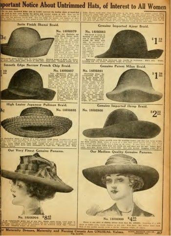 1912, plain undercoated hats. Simple shapes with a little trim were all lower classes could afford.