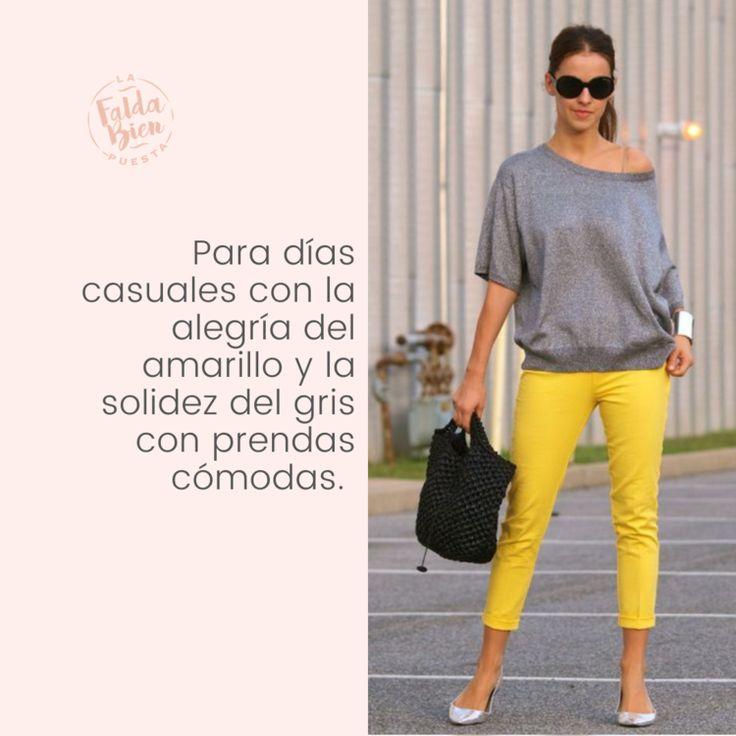 ¿Cómo combinar ropa de color gris y amarillo? Capri Pants, Yellow, Chic, Outfits, Fashion Ideas, Blog, Outfit Ideas, Gray, Tips