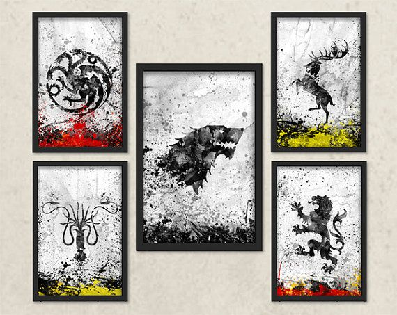 Game of Thrones Inspired Art, Watercolor Game of thrones, House Stark, House Lannister, House Targaryen, House Greyjoy, House Baratheon