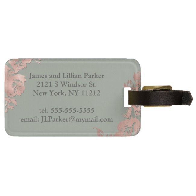 Chic Sage Green Rose Gold Floral Mr And Mrs Luggage Tag Zazzle Com Green Rose Sage Green Rose Bag