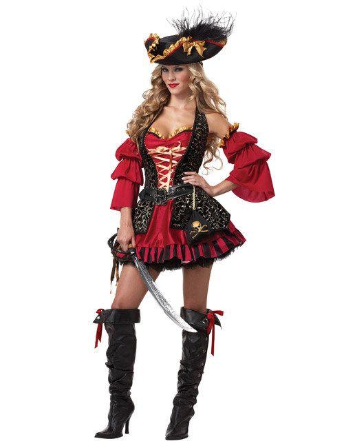 Barock Piratin Damenkostüm schwarz-rot, aus unserer Kategorie Piratenkostüme. Diese Seeräuberin trägt am liebsten Gewänder im Stil des Barock. Derart edel gekleidet lassen sich Handelsschiffe einfach mit viel mehr Klasse überfallen. Ein fantastisches Kostüm für Damen für Fasching und Piraten Mottopartys. #Karnevalskostüm