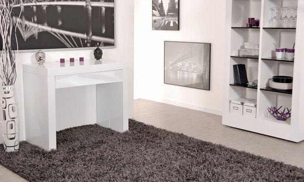 cette console extensible avec tiroir est disponible en 2 coloris blanc ou noir meuble. Black Bedroom Furniture Sets. Home Design Ideas