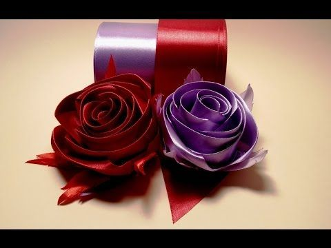 Ribbon flowers how to make:rose from satin ribbon/tutorial/Цветы из лент:роза из атласной ленты/МК - YouTube