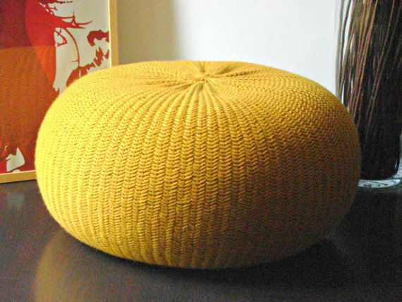 XXL POUF in 100% wool yarn, Poof, Ottoman, Footstool, Home Decor, Pillow, Bean Bag, Floor cushion