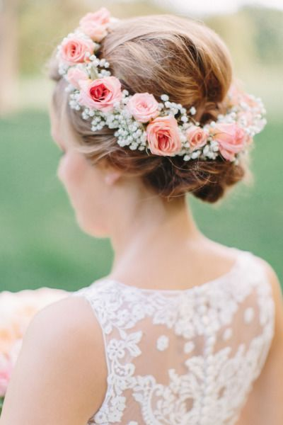Sweet and romantic pink rose and baby's breath floral crown: http://www.stylemepretty.com/little-black-book-blog/2014/10/21/glamorous-pink-khorassan-ballroom-wedding/ | Photography: MNC - http://mnc-photography.com/