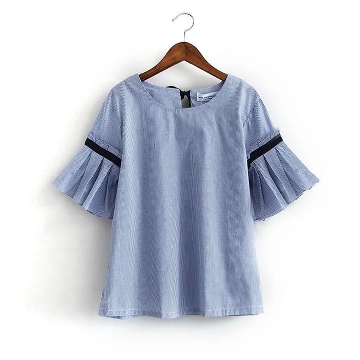 Купить товар2016 Лето Полосатый хлопок женщины блузка Половина Flare…