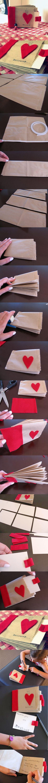 Valentine paper bag albums by http://oneshetwoshe.com/ | #DIY #tutorial #albums