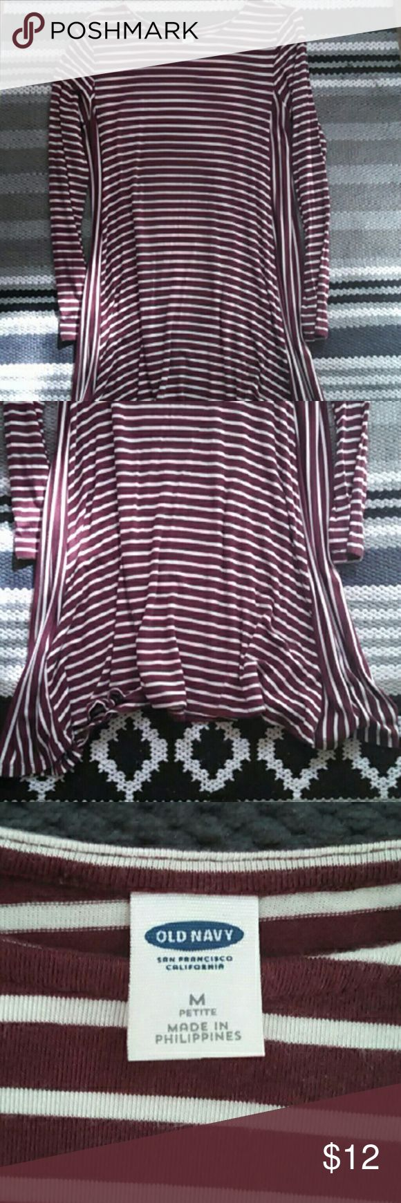 Old Navy Size Medium Petite Swing Dress Burgundy with cream stripes swing dress. Light wash wear. Only hung to dry. Medium petite, but could definitely fit regular medium to smaller large due to stretch. Old Navy Dresses Long Sleeve
