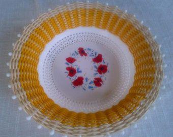 1950's Retro/Vintage 'Smit & Co' Woven Plastic Basket, Yellow/floral