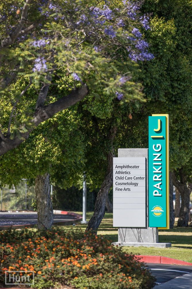 Signage Master Plan For Golden West College In Huntington Beach Includes Parking Identifiers With Concrete Relief Pattern