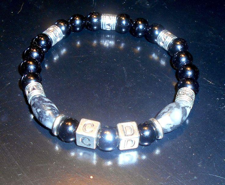 BRACELET Homme personnalisé en pierre de gemmes ONYX noir , Obsidienne,Hematite et argent : Bijoux pour hommes par camelys-bijoux