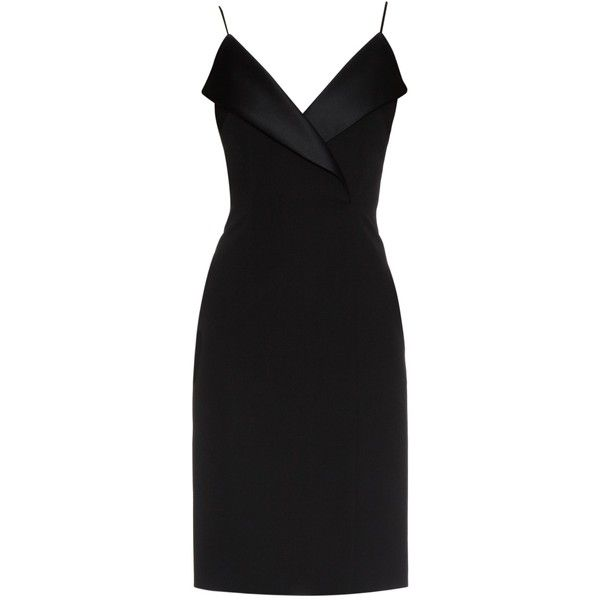 La Mania Pinna wool and satin dress (35,670 PHP) ❤ liked on Polyvore featuring dresses, vestidos, black, little black dress, lbd dress, black wool dress, little black cocktail dresses and black panel dress