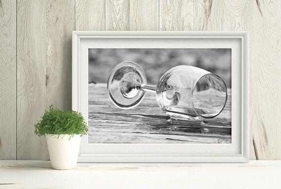 Printable Wine Glass Photograph, Black and White Print by PlayfulPixieStudio #macrophotography #wineglass #printableart #instantdownload