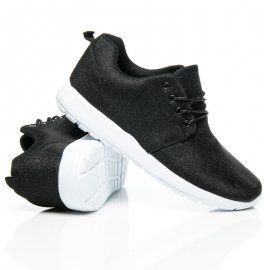 Black Glitter Trainers L011NE