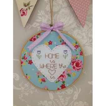 """Embroidery Hoop Art - """"Home Is Where The Heart Is"""""""