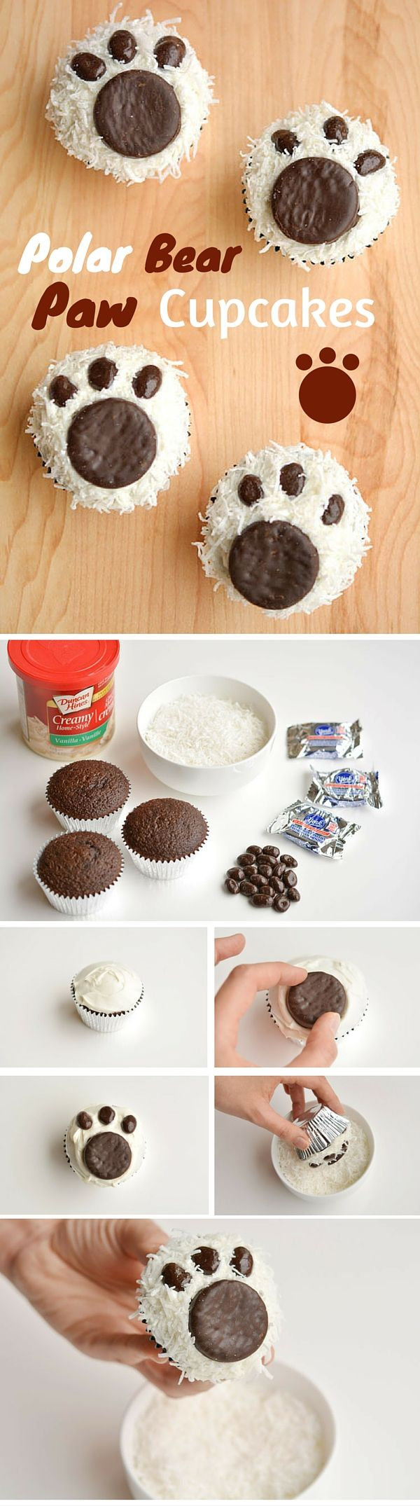 Get the recipe ♥ Polar Bear Paw Cupcakes #recipes @recipes_to_go