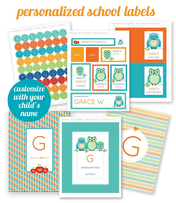 Free printable personalized school supply labels great for getting your kids school items organized