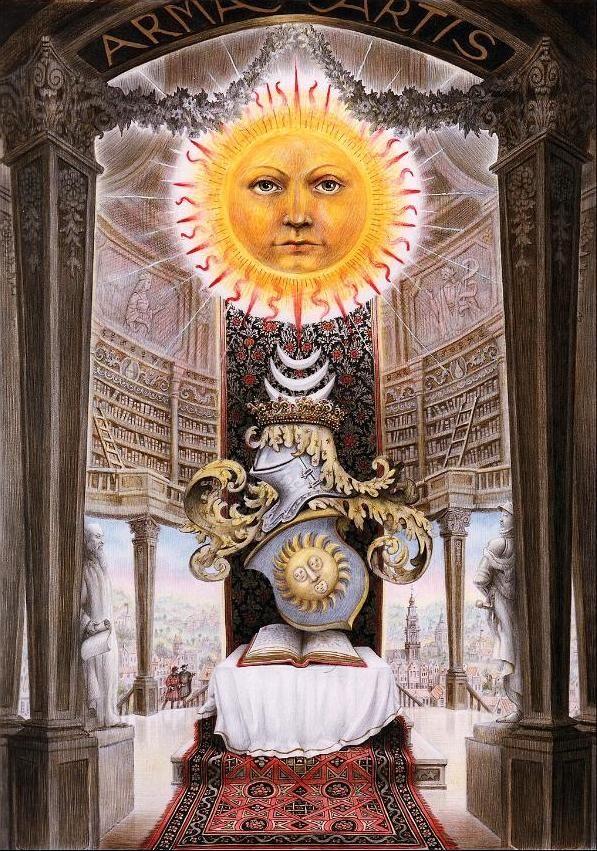 Alchemy:  A modern Splendor Solis: Arma Artis, 1989. Color pencil on paper.  An Alchemy artwork.