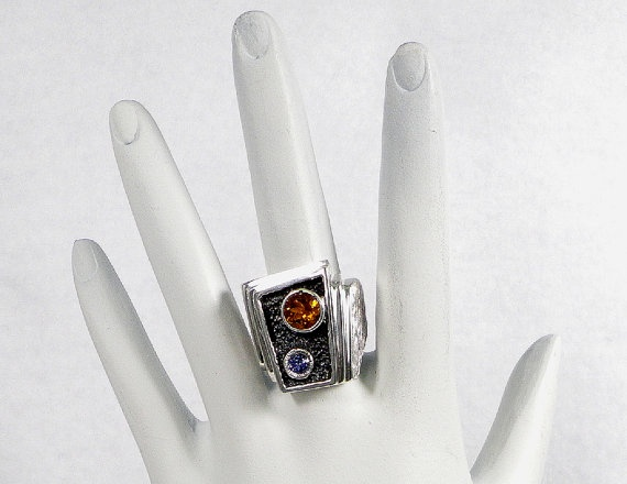 Sterling Silver Tanzanite and Citrine Quartz Gent's Heavy Metal Weight Ring, $285.00