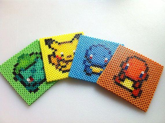 Custom Perler Bead Pokemon Coaster set 4 by SDKD on Etsy, $17.00