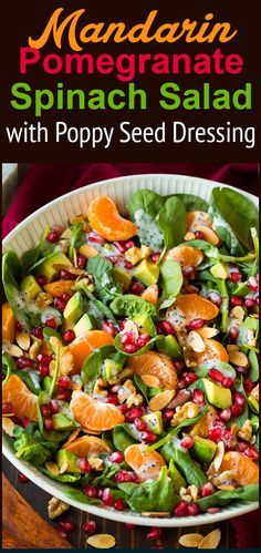 Mandarin Pomegranate Spinach Salad with Poppy Seed Dressing - Cooking ...