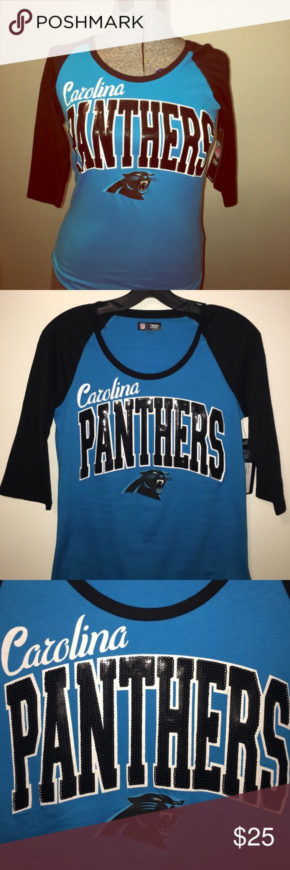 Carolina Panthers Women's 3/4 Sleeve Sequins Tee This is a cute one!💙 NFL Carolina Panthers Women's raglan 3/4 sleeve sequins tee. Carolina blue with black sleeves and black sparkle sequins. 100% Cotton. Brand new with tags. Women's size small. Tops Tees - Long Sleeve