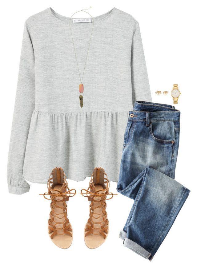 Light sweater, jeans, sandals