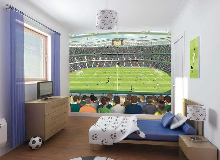 Bedroom Interior Teens Bedroom Kids Bedroom Football Stadium Poster And Tv  On Wooden Cabinet In Soccer Themed Bedroom Fascinating Decorating Ideas For  Boys ... Part 69