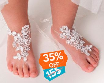 Pies descalzos sandalias de encaje-novia sin pies por BBbyBarmine