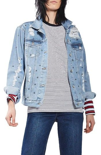 Free shipping and returns on Topshop Studded Distressed Denim Jacket (Regular & Petite) at Nordstrom.com. In case they don't get how tough you can be, this oversized denim jacket reveals your true nature with intense threaded holes and shiny silver cone studs.