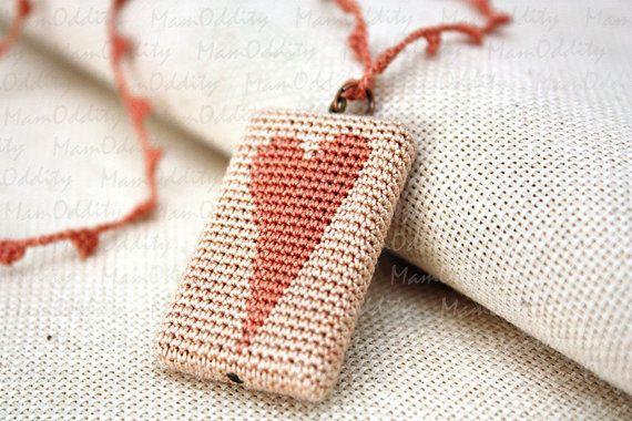 Crochet necklace  Heart Pendant by MamOddity on Etsy