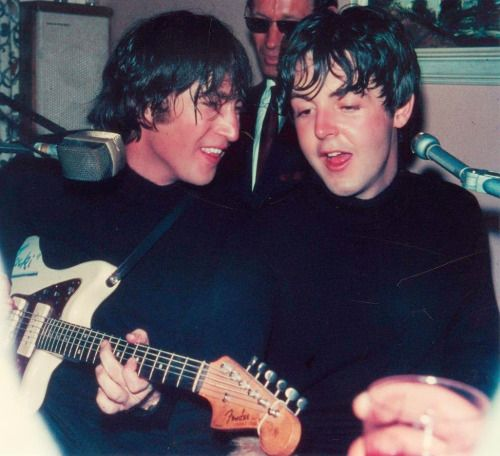 John Lennon and Paul McCartney,   March 18, 1965 at the Marietta Hotel, Obertauern, Austria. (Some question about the photographer; great story about it here.)