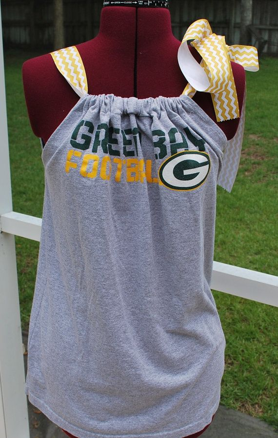 Green Bay Packers Upcycled Womens Tank Pillow Case Top Shirt with Chevron Ribbon Size Small Ready to Ship!! on Etsy, $24.50