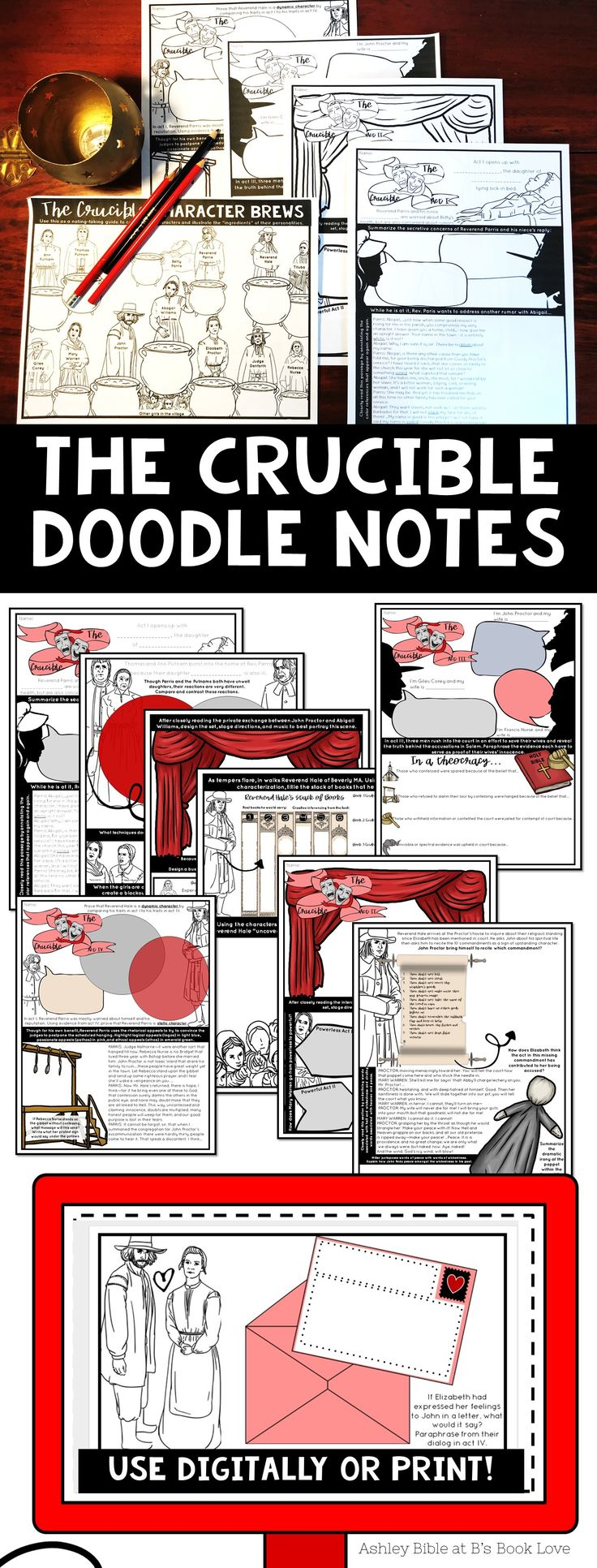 The Crucible Doodle Notes for each act!