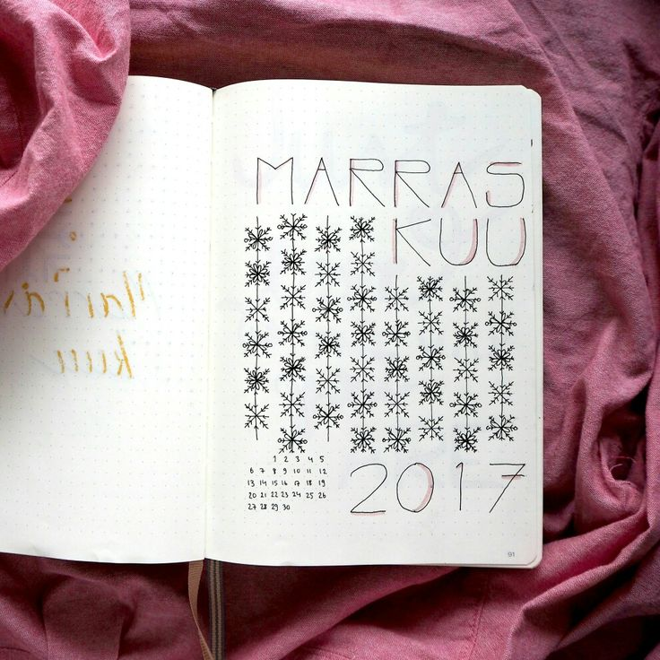 Bullet journal-bujo monthly cover, snowflakes November/marraskuu.