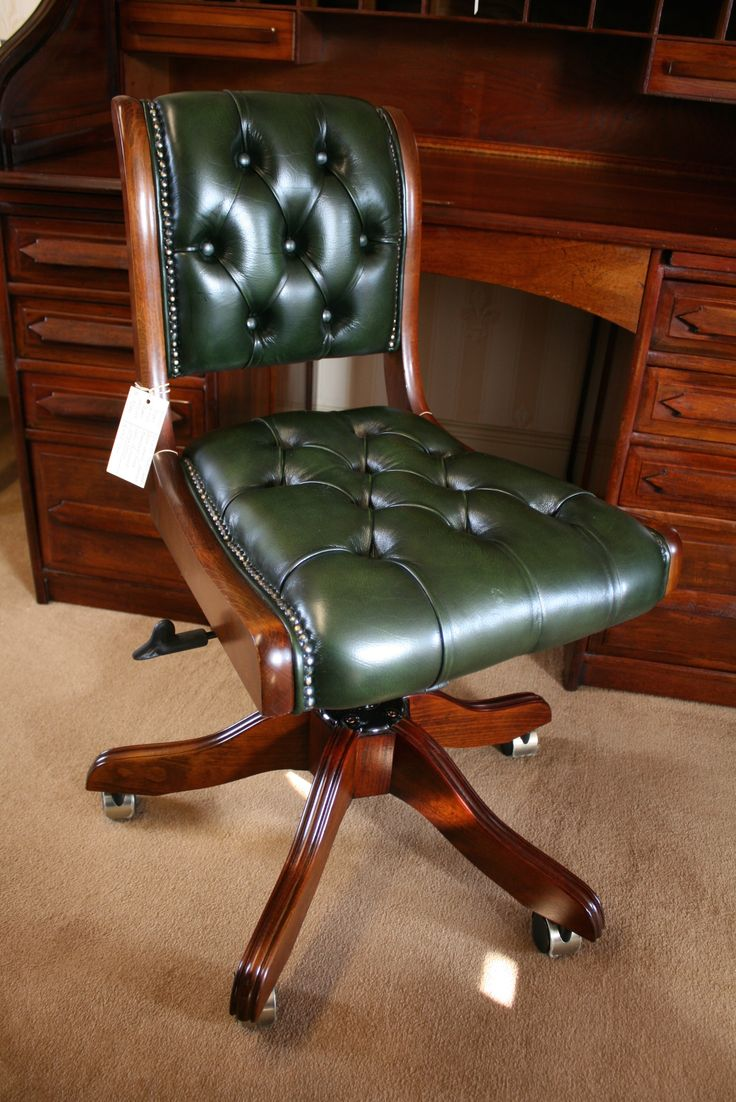 Typist Swivel Desk Chair. Bottle Green leather. Buttoned