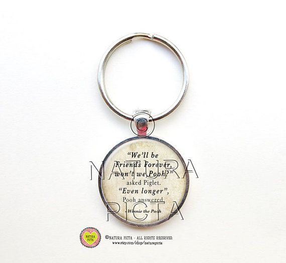 Winnie the Pooh friendship keychain-Pooh quote by naturapicta