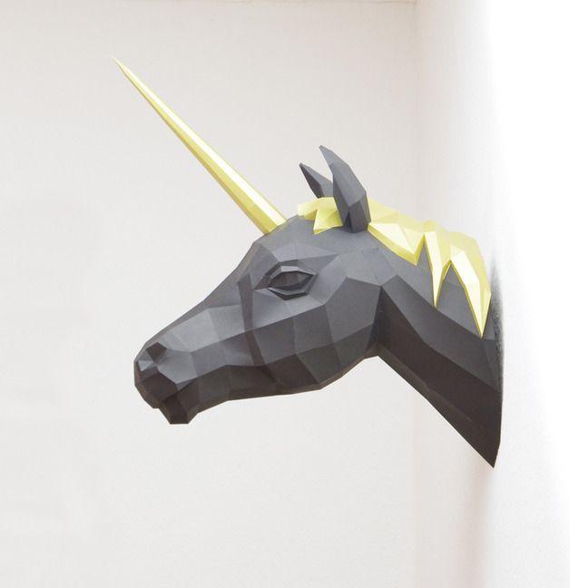 Schwarzes Einhorn / black unicorn by Paperwolfs Shop via DaWanda.com
