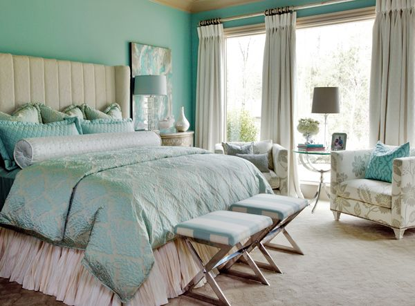 Create a pulled together look with a custom tufted headboard and matching upholstery fabric on your chairs.