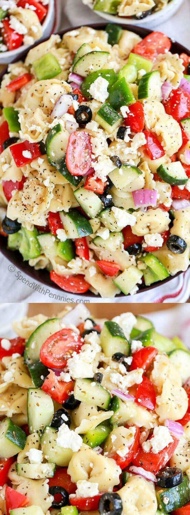 This Greek Tortellini Salad from Spend with Pennies has green peppers, fresh cucumbers, red, ripe tomatoes, and lots of cheese all mixed together!